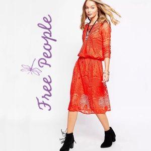 Free People Luna Lace Boho Crocheted Dress Red